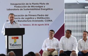 Intervención del Secretario de Energía, Pedro Joaquin Coldwell, durante la inauguración de la Planta Piloto de Producción de Microalgas y Laboratorio de Sustentabilidad Energética en Tabasco