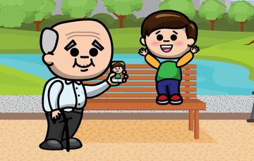 Ilustración de una persona adulta mayor fotografiando a un niño en un parque.