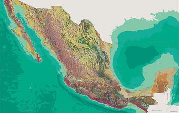 Mapa que muestra la cartografía a un nivel del país
