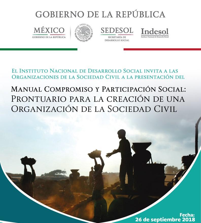 Acude este 26 de septiembre a las instalaciones del Indesol para la presentación del manual compromiso y participación social