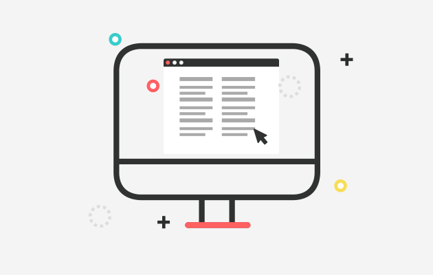 Ilustración de un monitor con gráficos de documentos en la pantalla