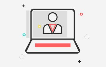 Ilustración de una computadora tipo laptop con la imagen de una persona en el monitor
