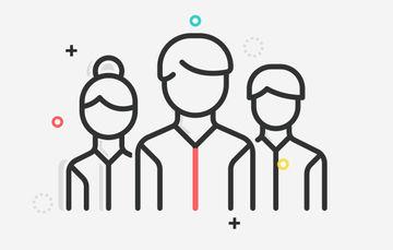 Ilustración de tres personas en comunicación