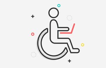 Ilustración de una persona en silla de ruedas con una computadora