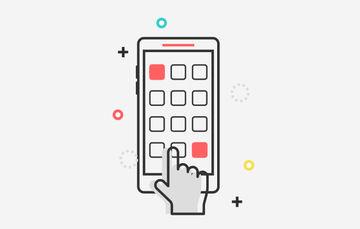 Ilustración de una mano interactuando con un dispositivo móvil