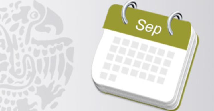 Calendario de actividades del mes de septiembre
