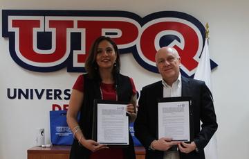 Fotografía de la rectora Martha Elena Soto Obregón y Roberto Aguerrebere Salido, Director General del IMT
