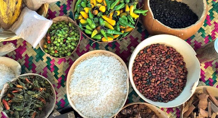 chiles, frijol, arroz y cacao