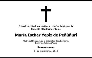 Condolencias de Indesol por el Fallecimiento de la Sra. María Yepiz Peñúñuri, madre del actual delegado de Sedesol en Baja California