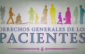 Mujeres y hombres de distintas edades con el letrero de derechos generales de los pacientes.