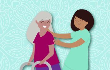 Una persona cuidando a una adulta mayor.