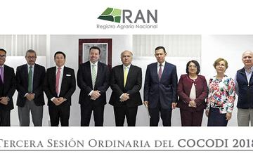 Director en Jefe del Registro Agrario Nacional (RAN) y asistentes a la Tercera Sesión Ordinaria del COCODI 2018.