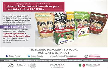 Se dispone de un nuevo esquema de Suplementos Alimenticios para beneficiarios de PROSPERA.