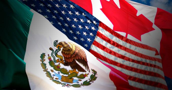 Banderas de México, EEUU y Canadá del TLCAN
