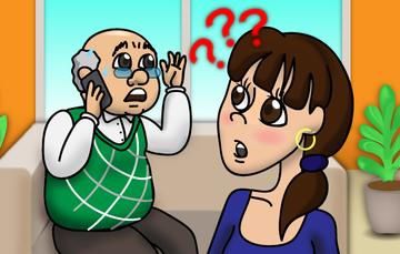 Ilustración de un hombre hablando por teléfono celular y una mujer atestiguando la llamada.