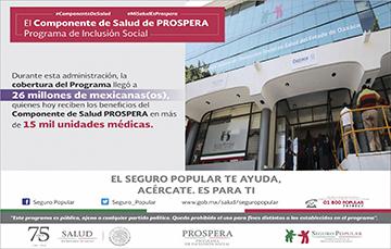 El Componente de Salud PROSPERA llegó a 26 millones de mexicanos.