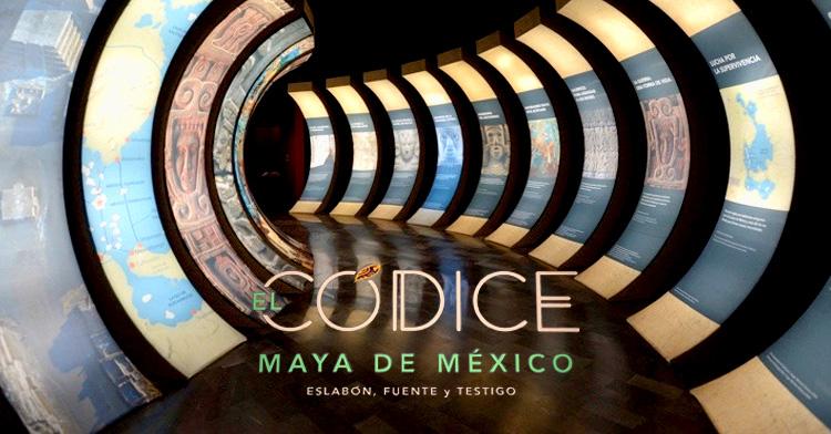 Banner de la exposición Códice Maya de México. Eslabón, fuente y testigo,  en el Museo Nacional de Antropología.