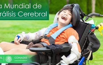 Niño con parálisis cerebral en su silla de ruedas, sonriente.