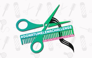 Cartel de Dona tu melena Challenge en el que se invita a participar al público en general para donar cabello en beneficio de mujeres derechohabientes del IMSS con cáncer.