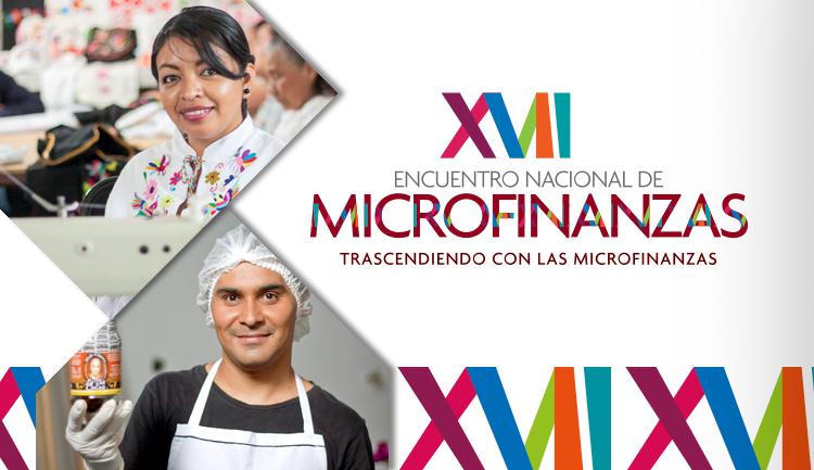 Microempresarios y logo del XVII Edición del Encuentro Nacional de Microfinanzas