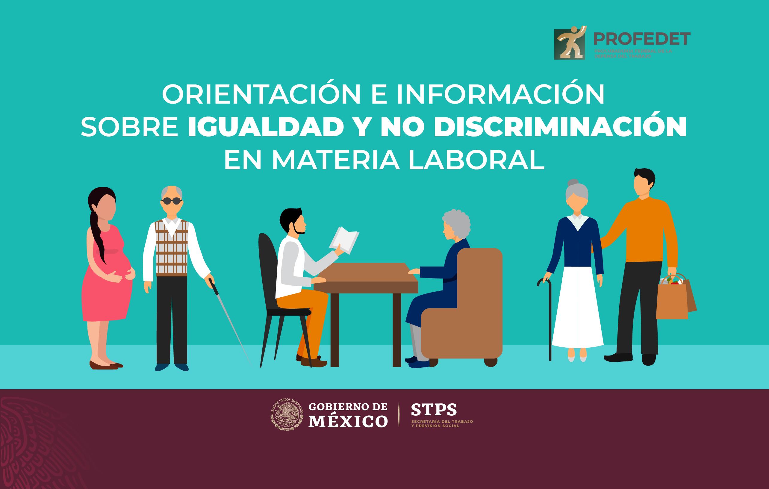 infografía que muestra imágenes de trabajadores de diversos ámbitos representando mujeres embarazadas, personas con discapacidad, adultos mayores y abogado asesorándolos
