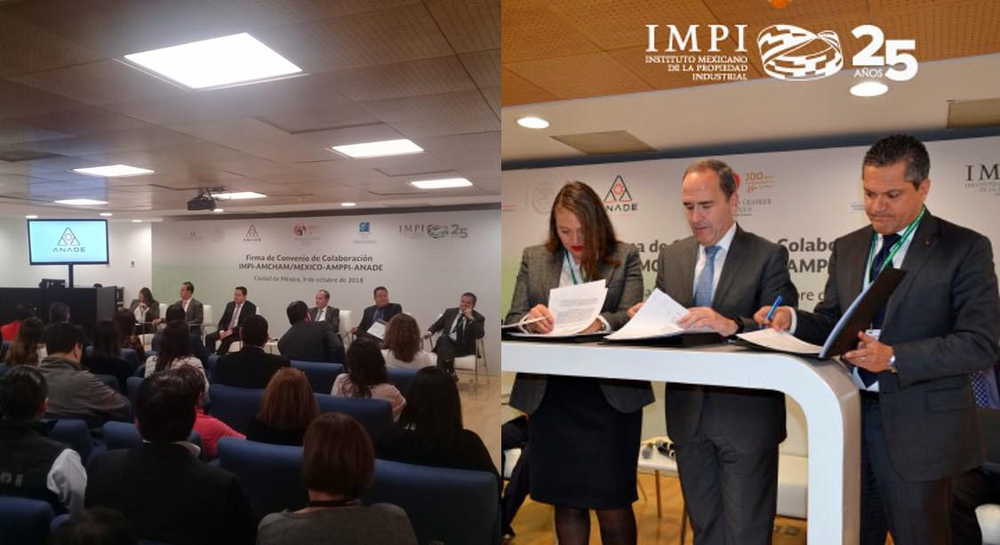 IMPI, ANADE, AMPPI, y AMCHAM firman convenio de  colaboración en favor de una cultura de legalidad en México