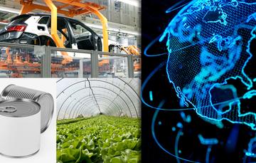 Collage con imágenes de la industria automotriz, agricultura y envases.
