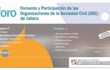 Este 17 de octubre, se llevará a cabo el Foro fomento y participación de las organizaciones de la sociedad civil