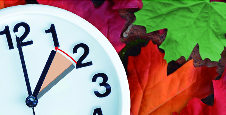 Iilustración de reloj que señala con una flecha que se tiene que retrasar la hora.