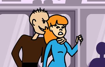 Ilustración de un hombre sosteniendo a una mujer por el cuello.