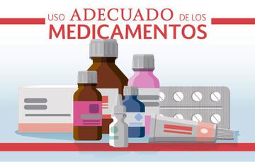 Distintas presentaciones de medicamentos con la leyenda Uso adecuado de los medicamentos