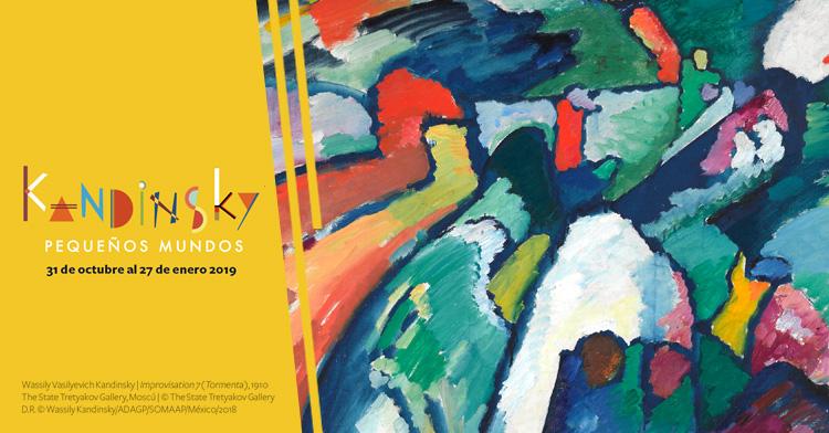 Banner de la exposición Kandinsky. Pequeños mundos en el Museo del Palacio de Bellas Artes.