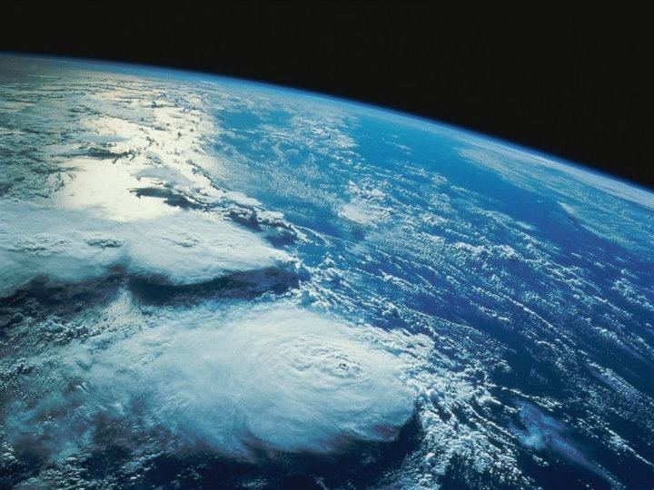 Vista aérea de globo terráqueo