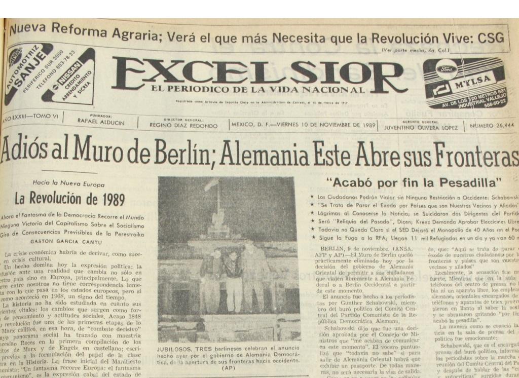 Agnrecuerda La Caida Del Muro De Berlin Via Excelsior Y El Nacional Archivo General De La Nacion Gobierno Gob Mx