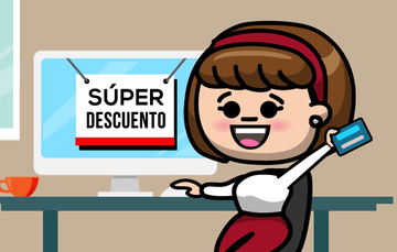 Ilustración de una mujer frente a una computadora con una tarjeta bancaria en la mano.
