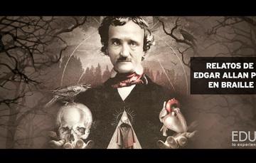 Banner del libro Relatos de Edgar Allan Poe en braille