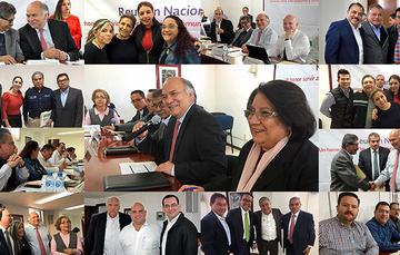 Collage de imágenes de delegados, destacando en el centro el Director en Jefe del RAN, Froylán Hernández Lara.