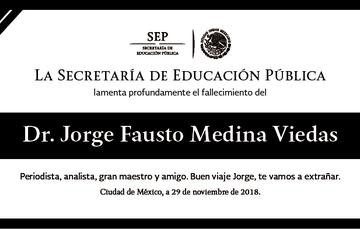 Esquela del Dr. Jorge Medina