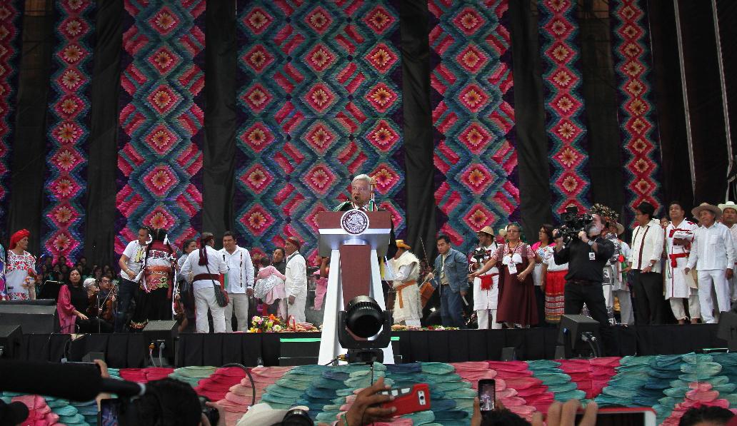Presidente Andrés Manuel López Obrador durante el mensaje que ofreció desde el Zócalo de la Ciudad de México