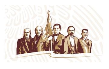 Cinco héroes de nuestra historia encabezan la imagen del gobierno