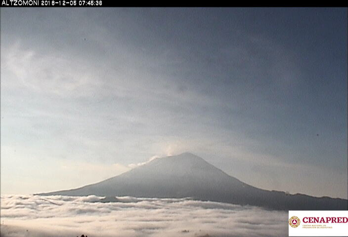 En las últimas 24 horas, por medio de los sistemas de monitoreo del volcán Popocatépetl, se identificaron 47 exhalaciones de baja intensidad