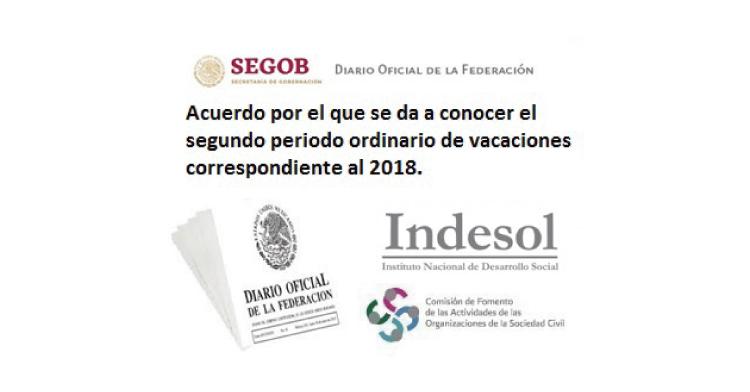 El Registro Federal de las Organizaciones de la Sociedad Civil, no laborará de 20 de diciembre de 2018 al 4 de enero de 2019