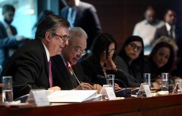 canciller Marcelo Ebrard en la Reunión de Trabajo de las Comisiones Unidas de Relaciones Exteriores del Senado de la República