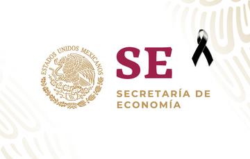 Imagen logo de la Secretaría de Economía con moño negro en indicación de luto