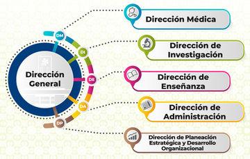 Direcciones que conforman al INER, Dirección General, Dirección  Médica, Dirección de Administración, Dirección de Planeación y Desarrollo Organizacional, Dirección de Enseñanza y Dirección de Investigación.