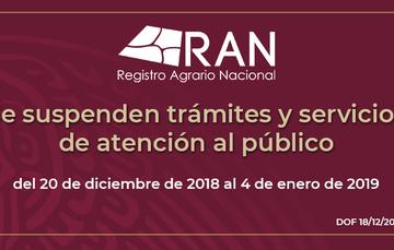 En el RAN se suspenden trámites y servicios de Atención al Público, del 20 de diciembre al 4 de enero