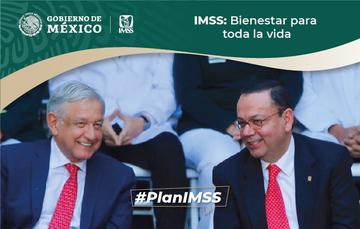 Foto del presidente del Gobierno de México, Andrés Manuel López Obrador, junto al director general del IMSS, Germán Martínez Cázares.