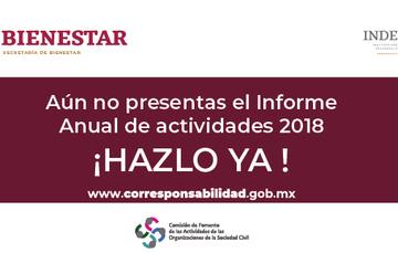 """Leyenda """"Aún no presentas el Informe Anual de Actividades 2018 ¡Hazlo ya!"""" Acompañada de la liga www.corresponsabilidad.gob.mx y los logos de Bienestar e Indesol."""
