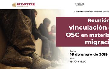 """Fotografía con texto con la leyenda: """"Reunión de vinculación con OSC en materia de migración"""""""