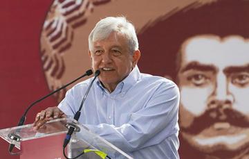 El presidente Andrés Manuel López Obrador, duramte el homenaje a Emiliano Zapata, el Caudillo del Sur, por el centenario de su asesinato